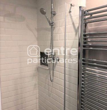 Baño pequeño detalle ducha radiador-toallero