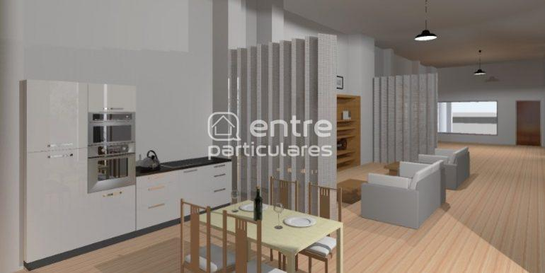 cocina + salon + espacio entrada